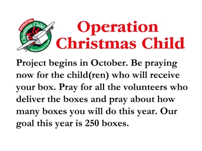 August Operation Christmas Child Update