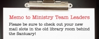 Memo to Ministry Team Leaders