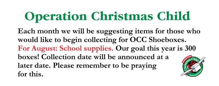 Operation Christmas Child - August 2016