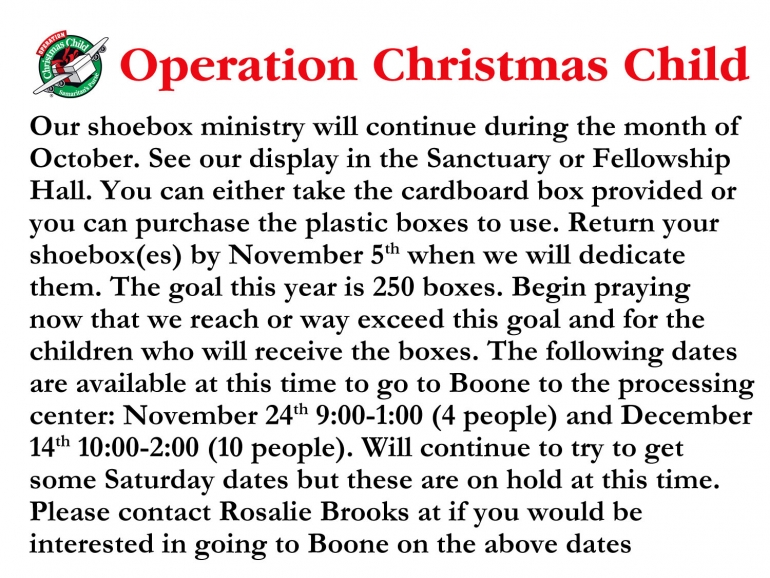 Operation Christmas Child - October