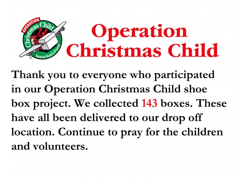 Operation Christmas Child Update