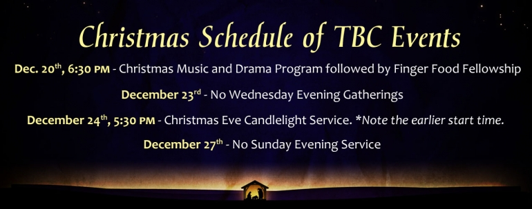 TBC Christmas Schedule