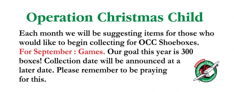 Operation Christmas Child - September